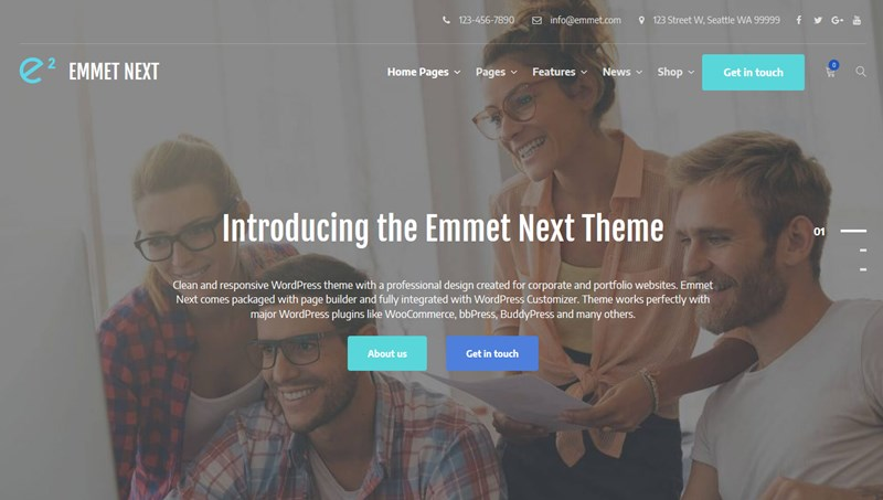 emmet next elementor wordpress theme landing page
