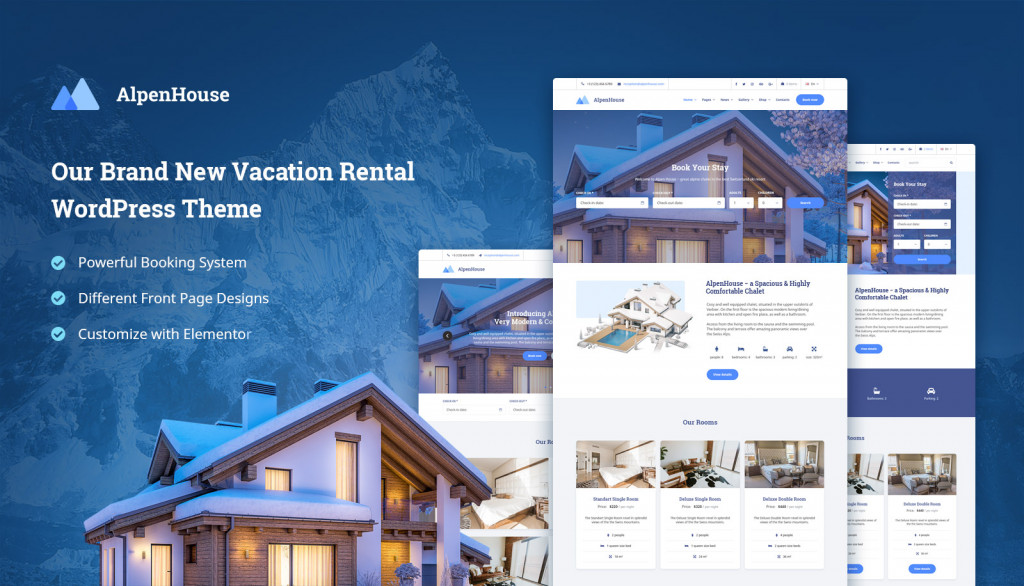 Alpenhouse Review Our New Vacation Rental Wordpress Theme Motopress