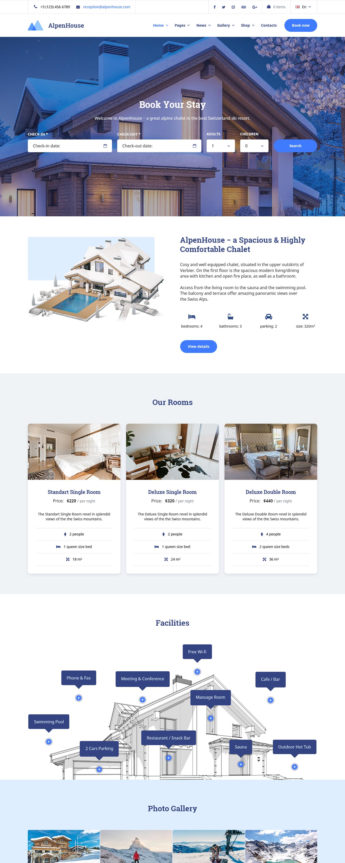 Alpenhouse Hotel Booking Wordpress Theme Motopress