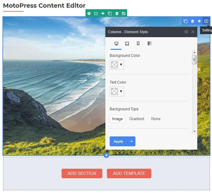 motpress content editor column