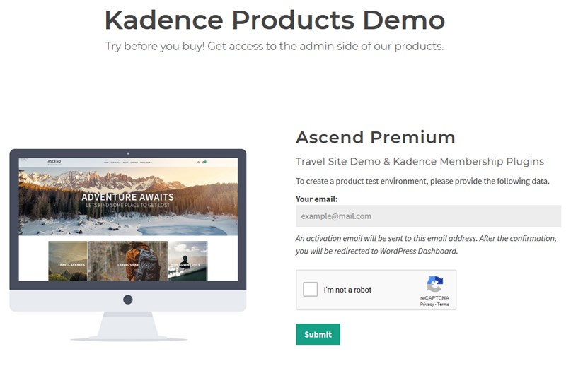 kadence wp themes demo