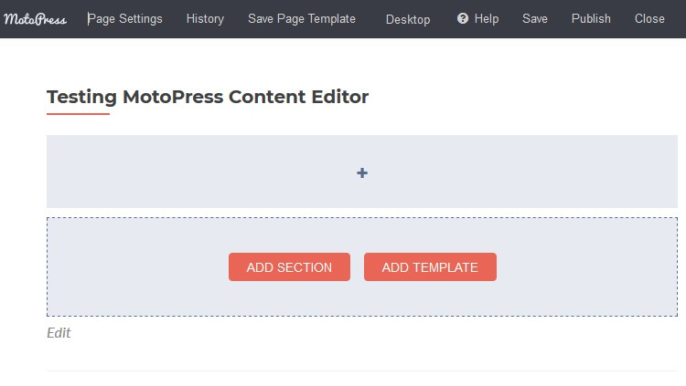 content editor 3.0 add section
