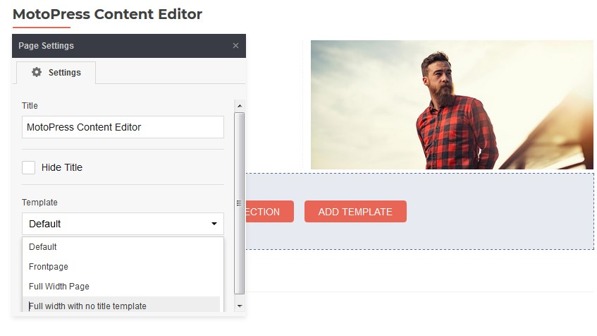 page settings content editor