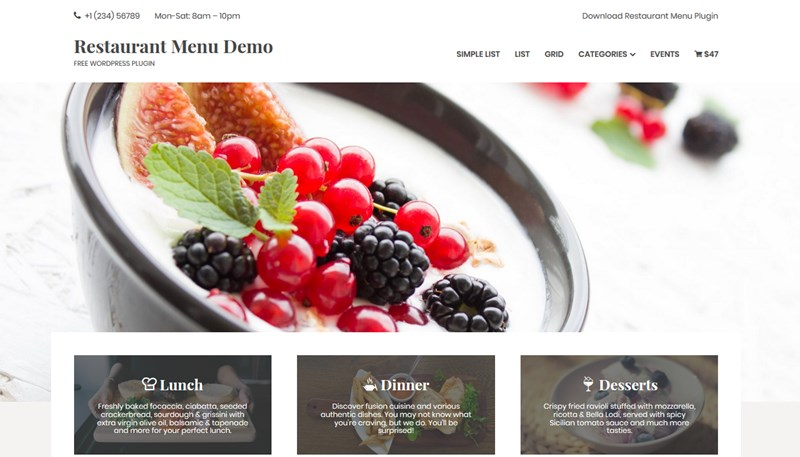 wordpress menu for restaurant