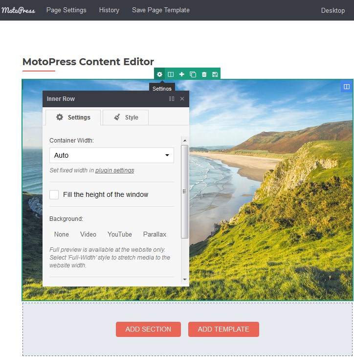 row content editor