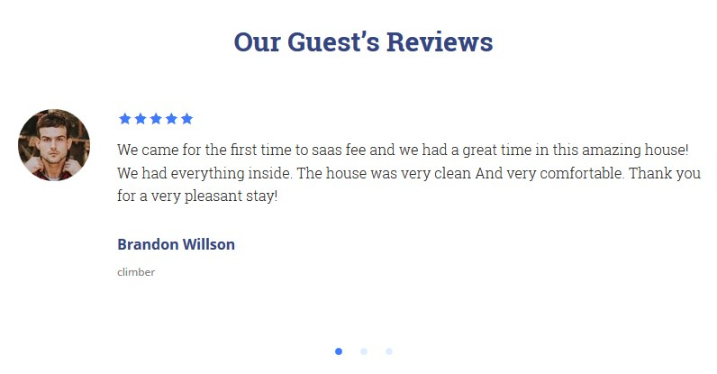 testimonials vacation rental theme