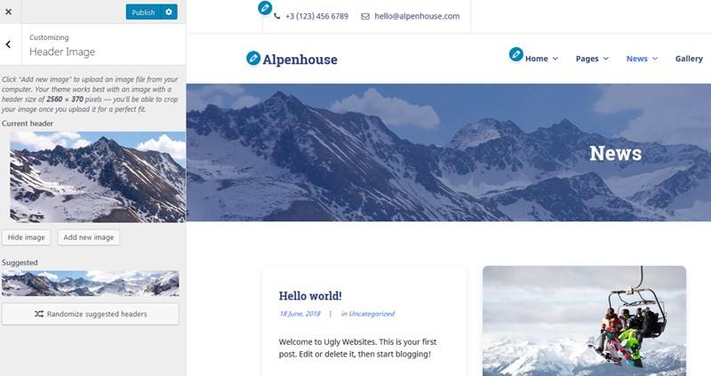 wordpress customizer alpenhouse theme