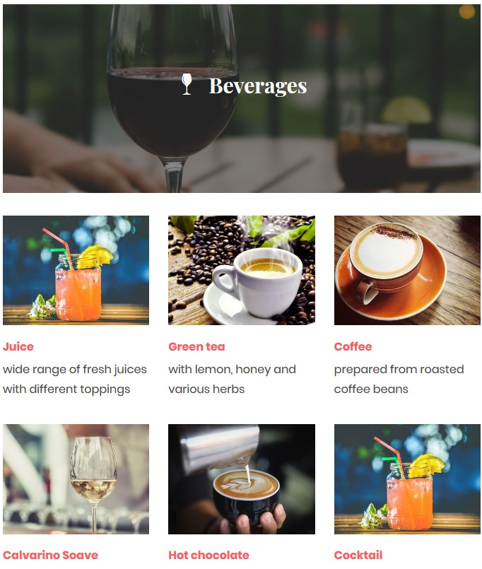 wordpress menu plugin beverages