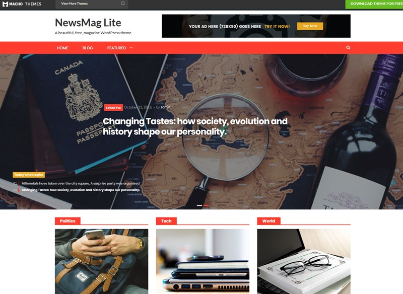 free wp magazine theme