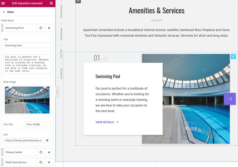 amenities and services slider