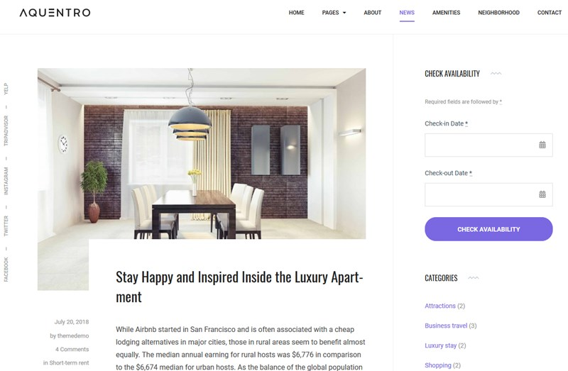aquentro blog theme single property rental