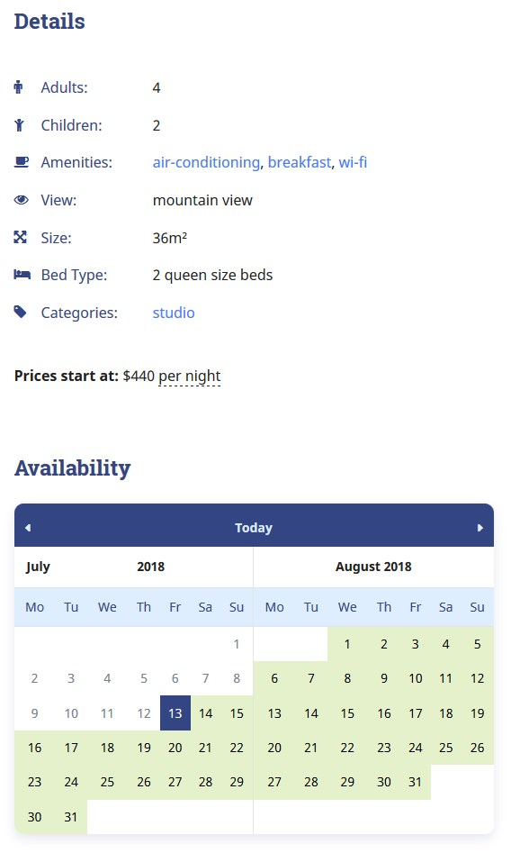 availability calendar hotel booking with WordPress Airbnb plugin