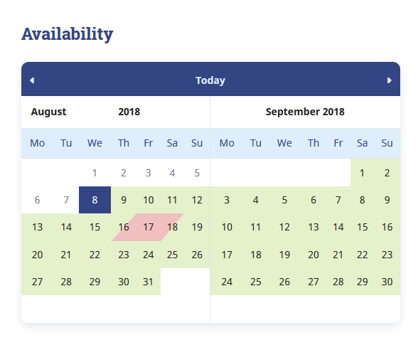 wp availability calendar