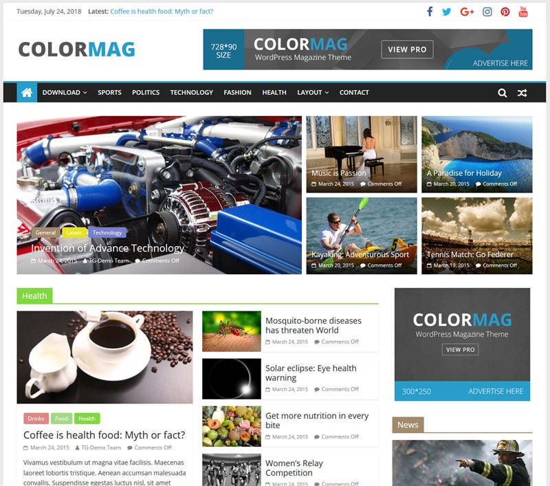 colorMag wp theme