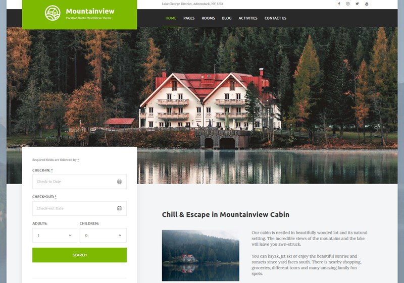 mountainview vacation rental wordpess theme