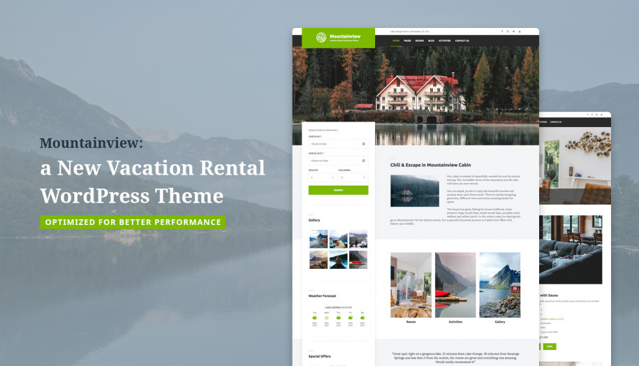 mountainview vacation rental wordpress theme