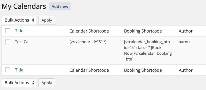 vr calendar sync shortcode
