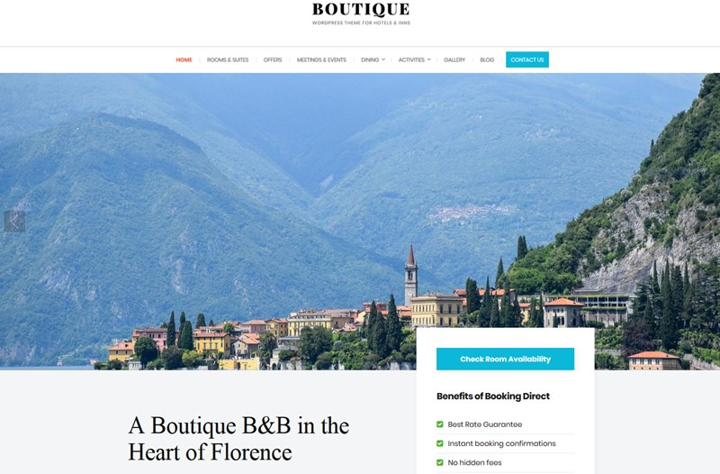 boutique hotel wp theme