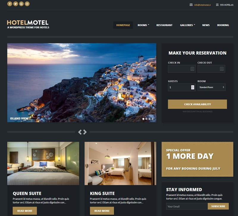 HotelMotel wp theme
