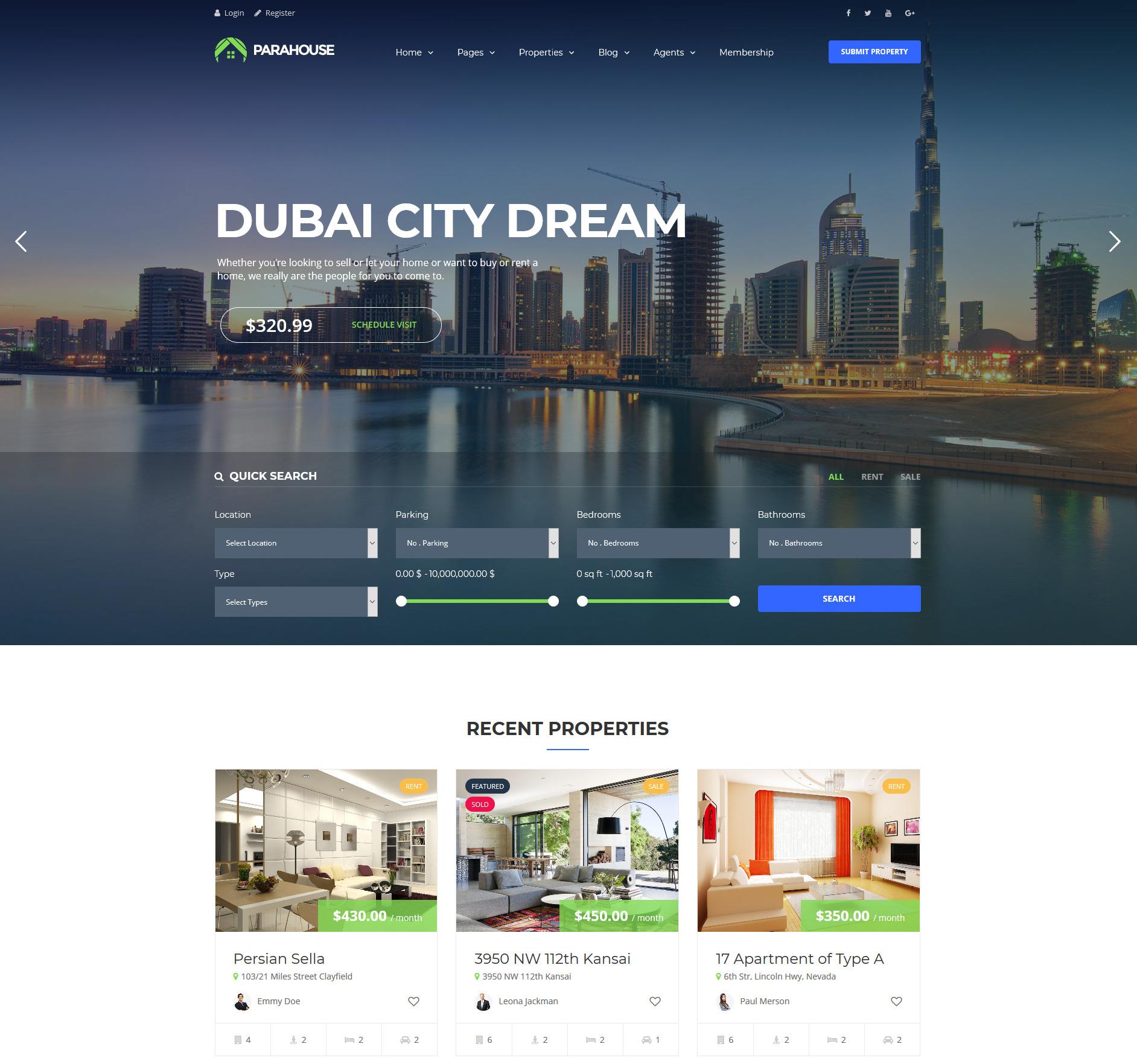 ParaHouse property management wp themes
