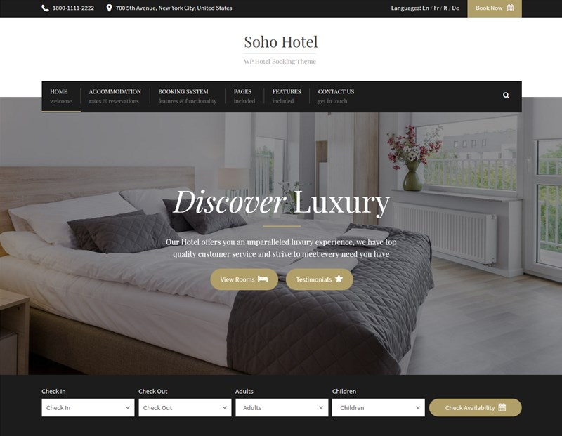Soho Hotel wp theme