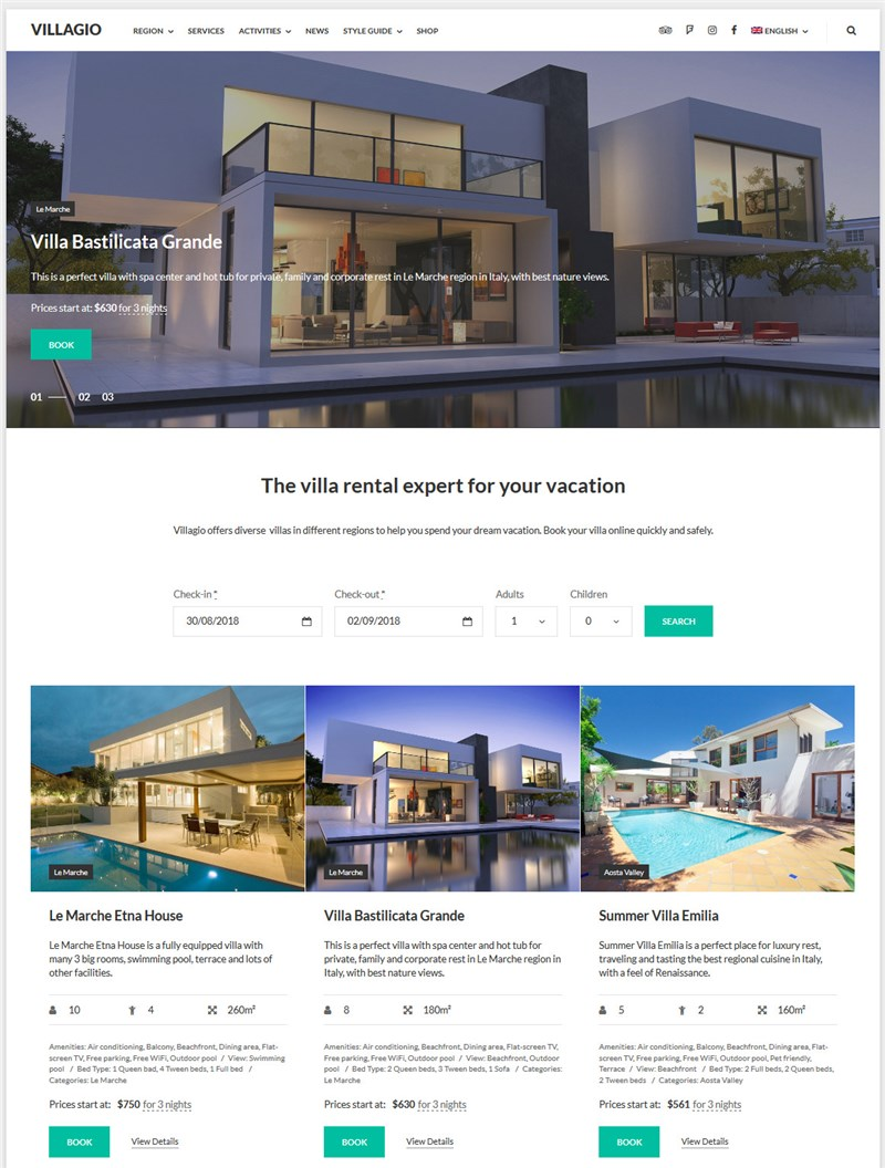 Villagio property management wp theme