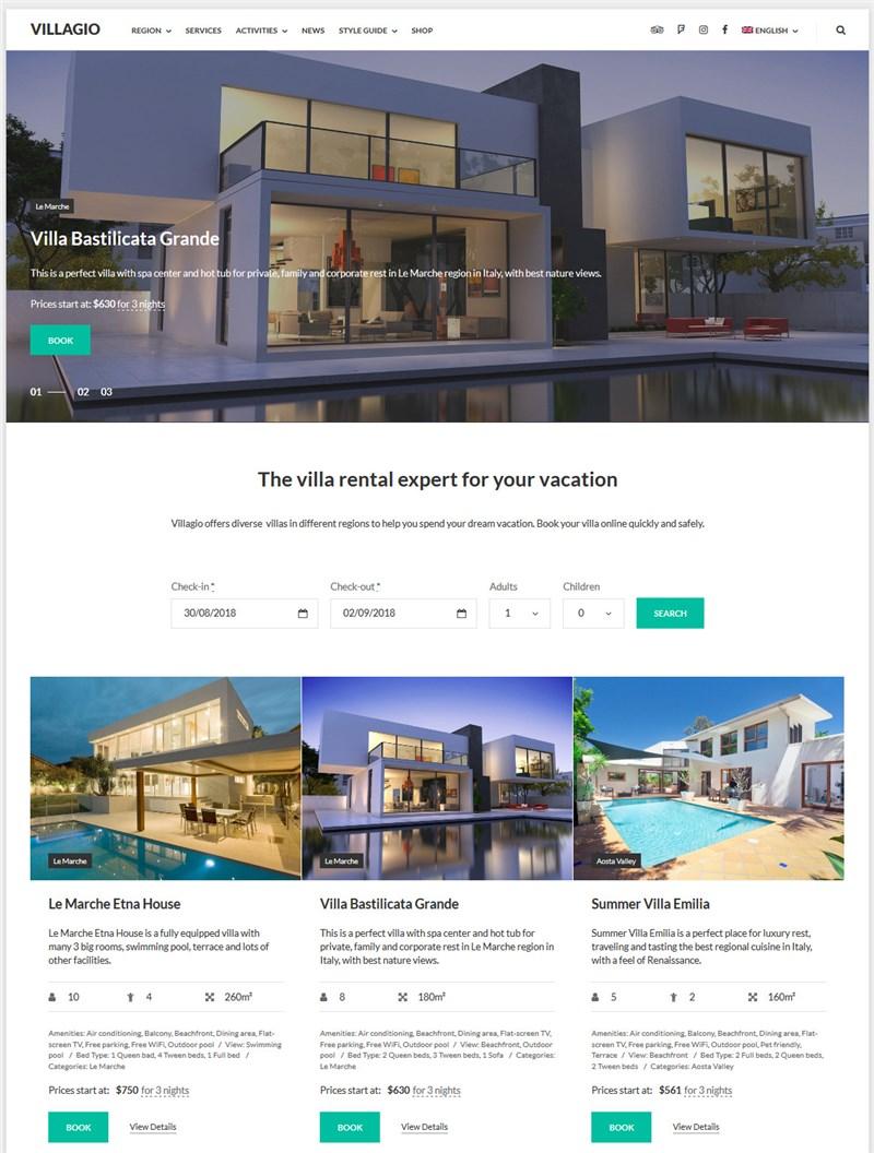 Villagio property management wp theme