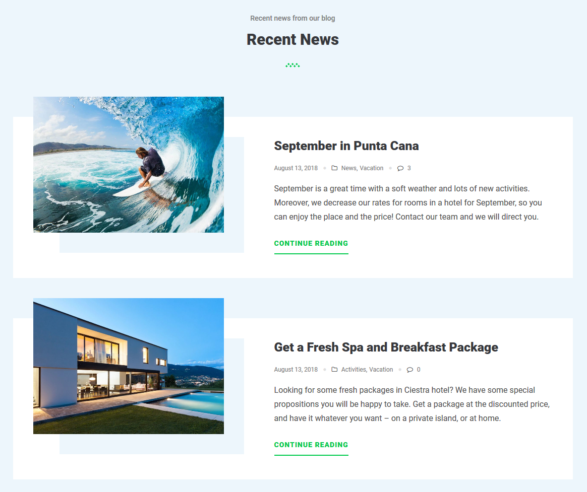 ciestra resort wordpress theme blog news