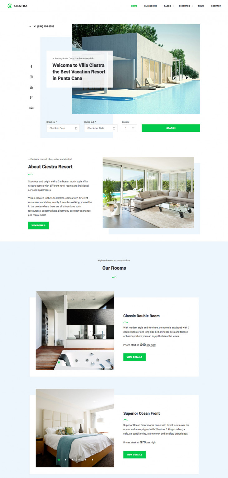 Resort website templates