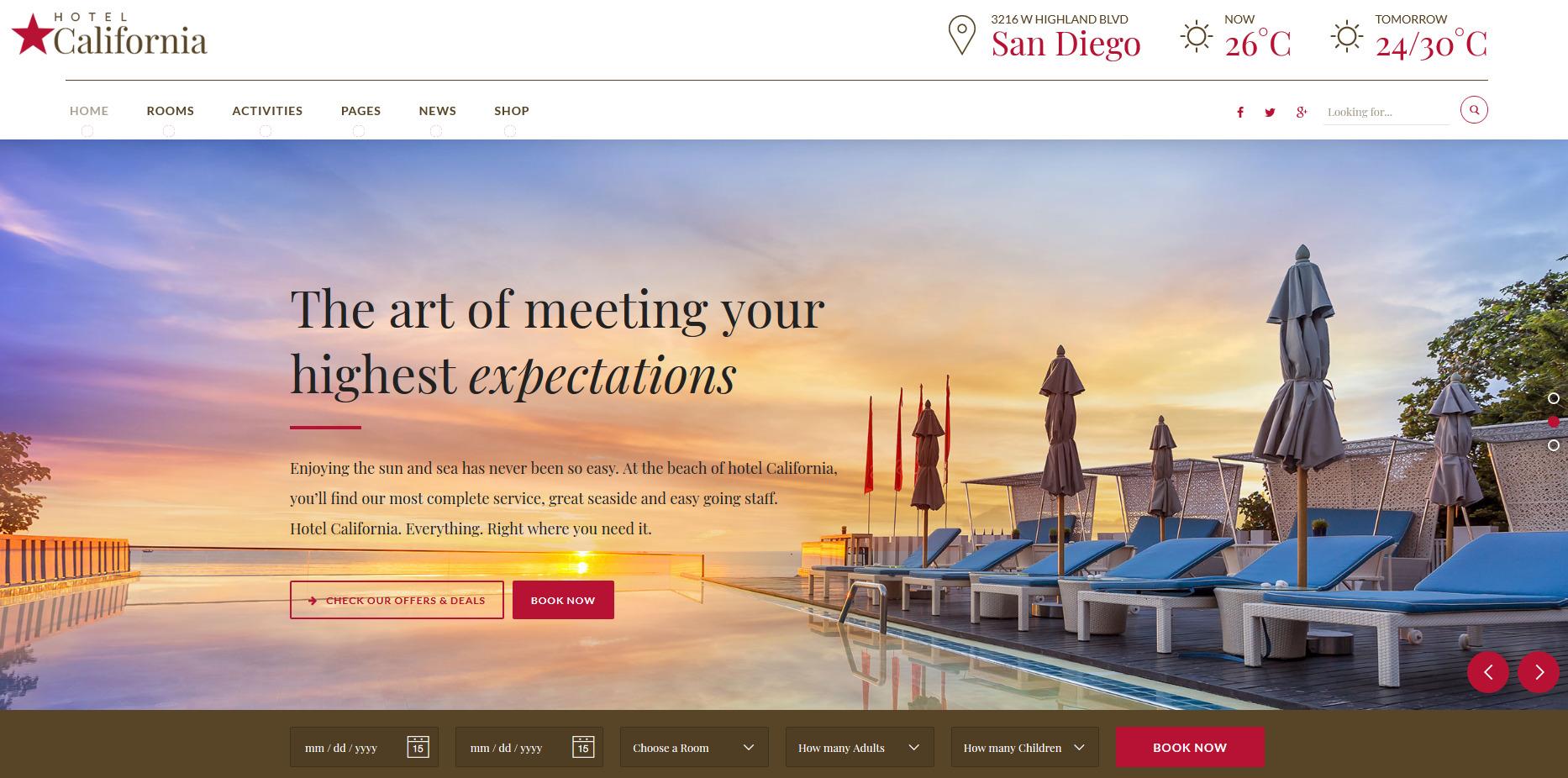 hotel california wp theme