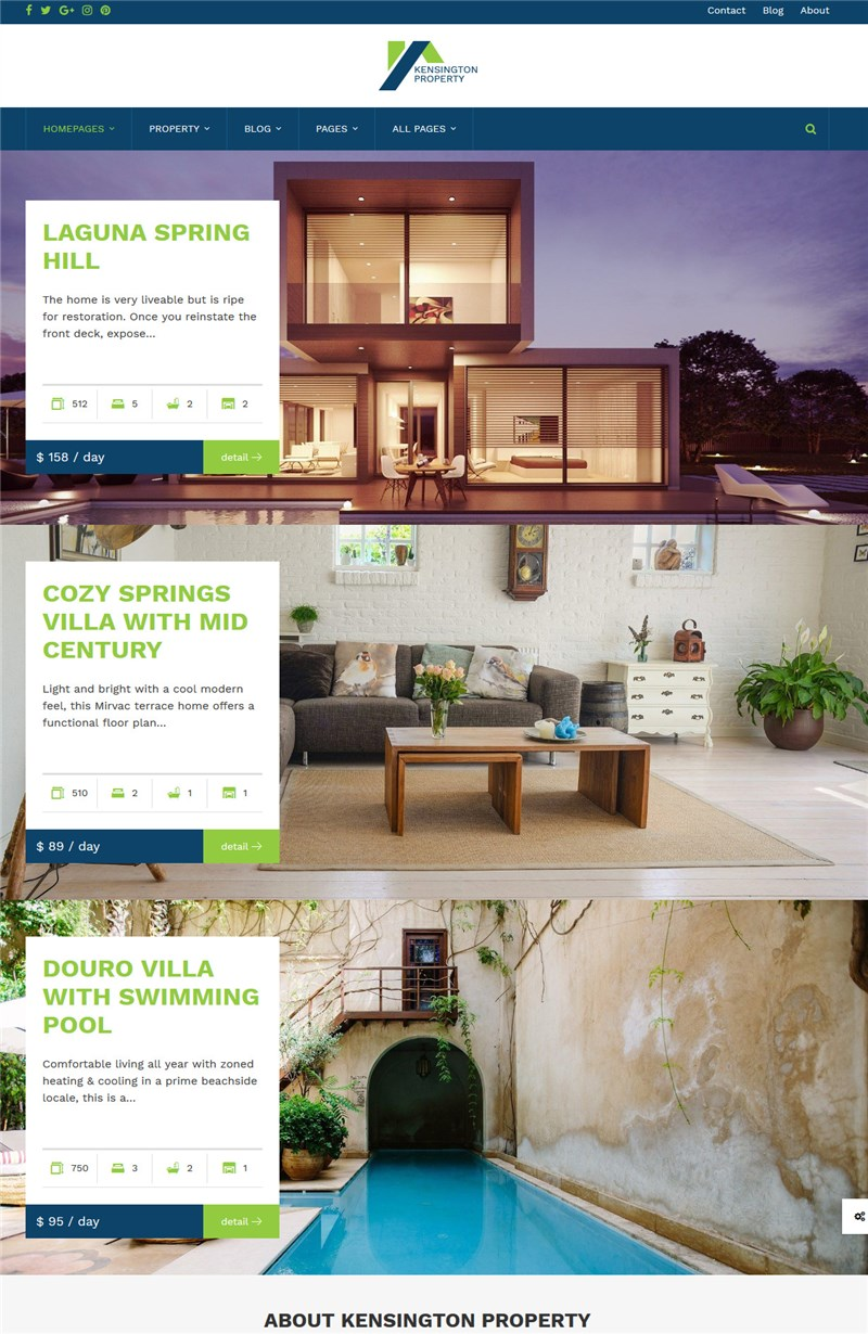kensington wp property management theme