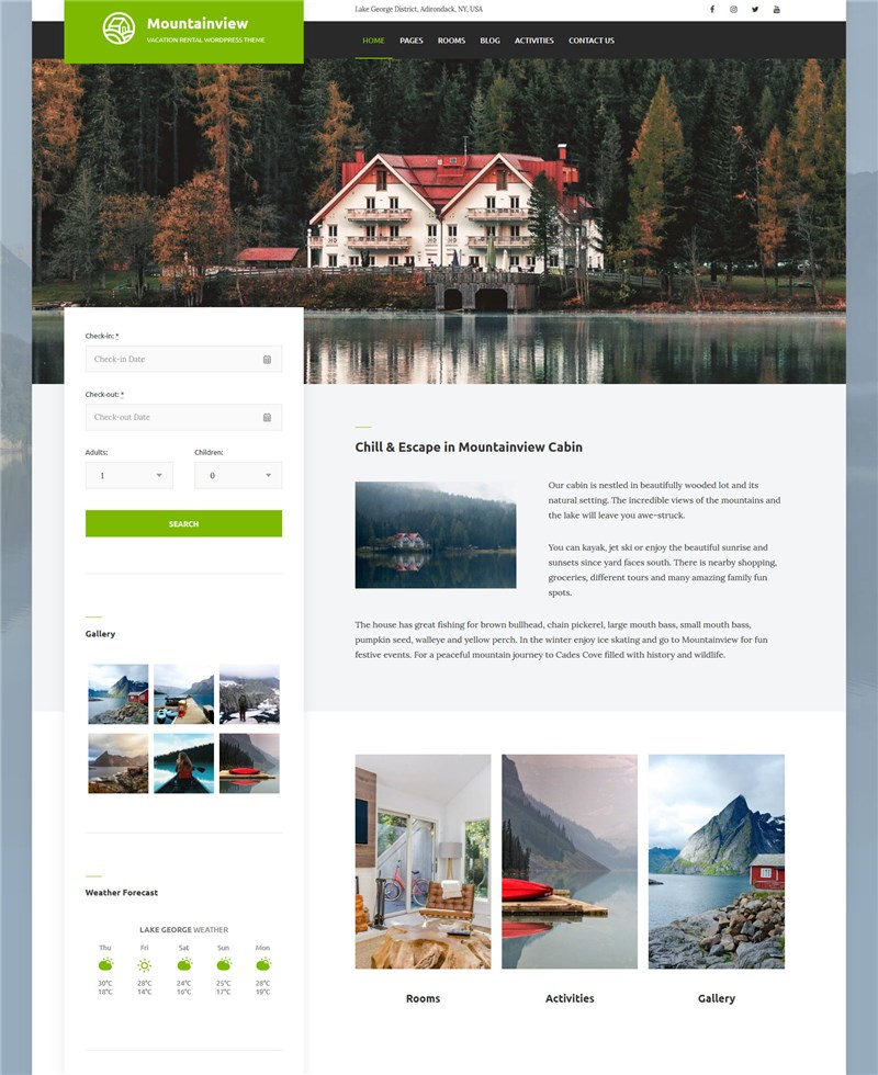 mountainview vacation rental theme