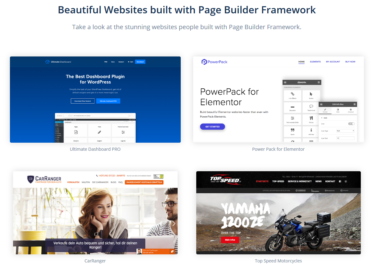 page builder framework wordpress