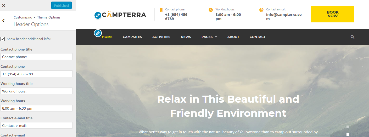 campterra WordPress Camping Template header options