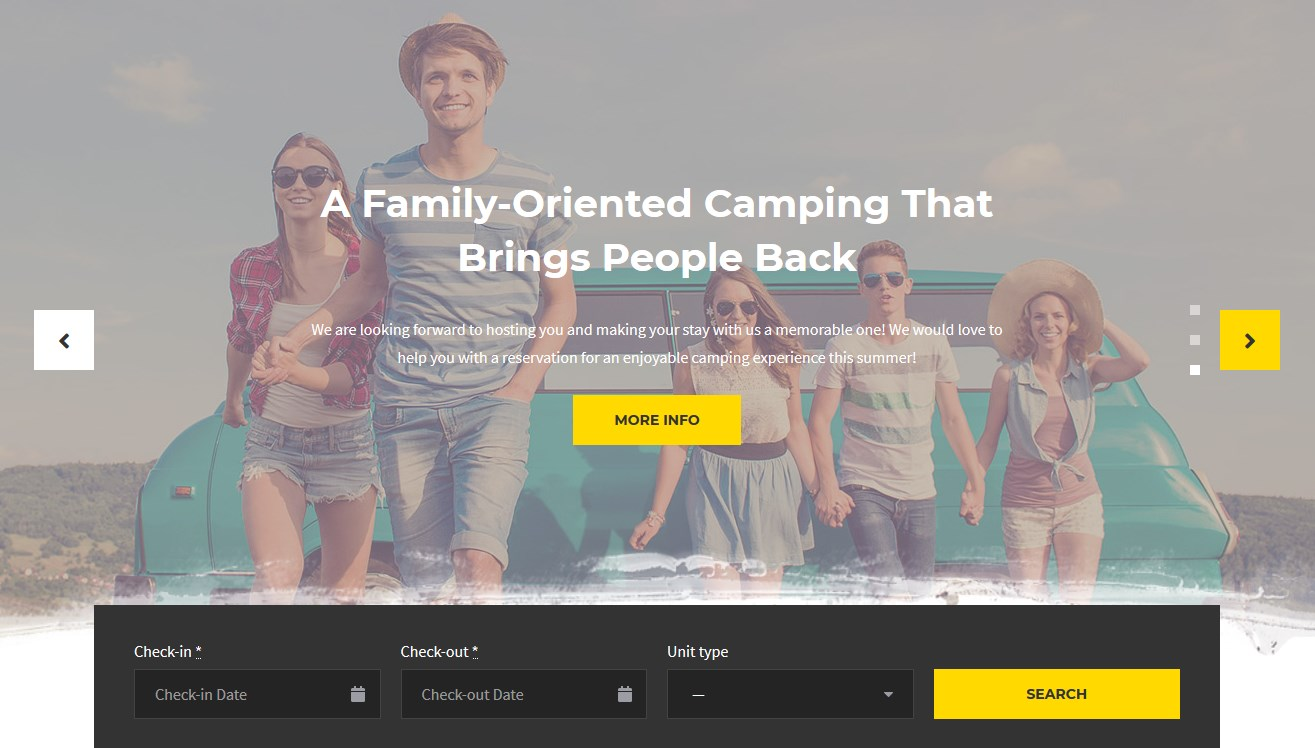 WordPress Camping Template slider