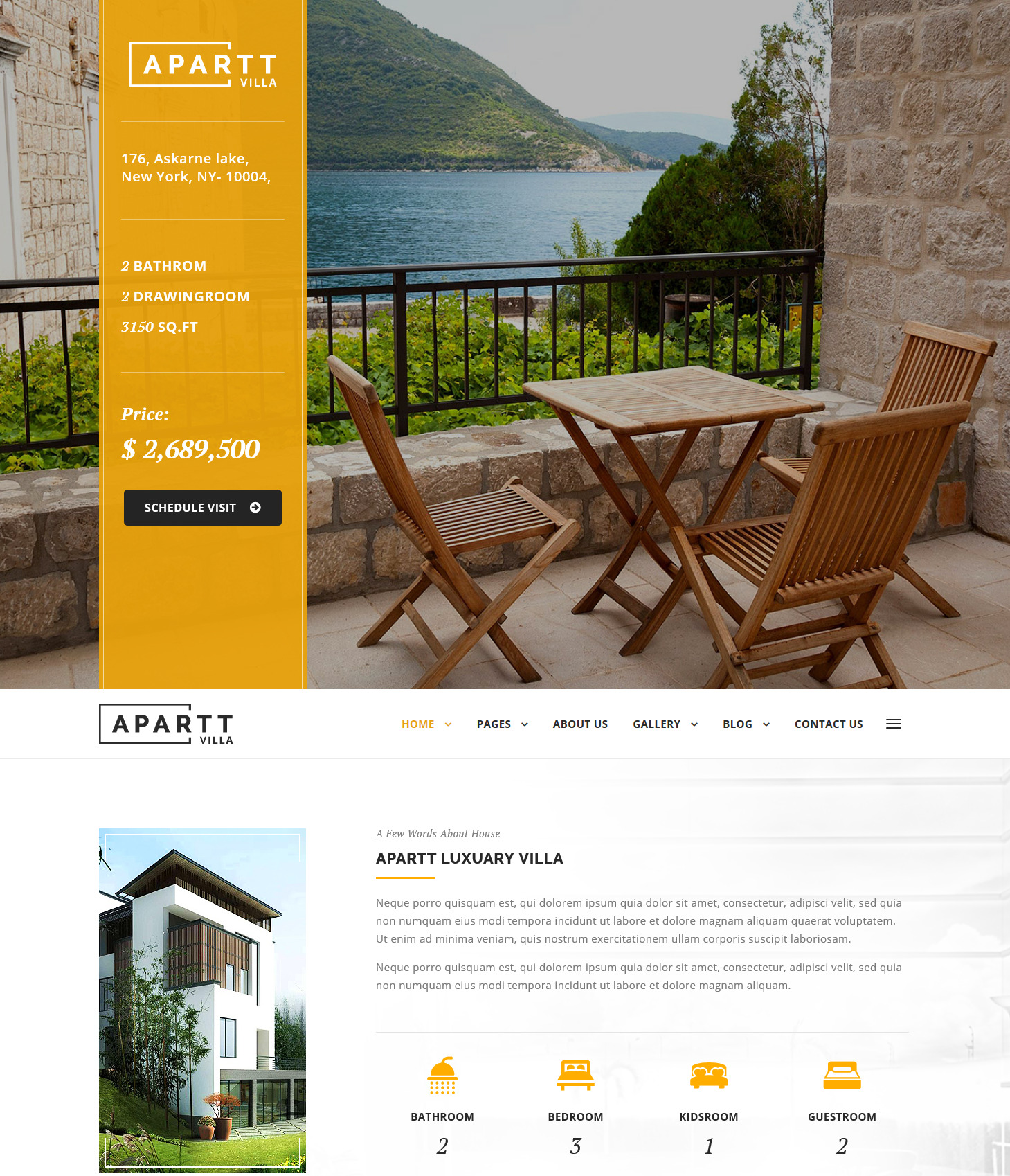 Apart Villa single property wordpress themes