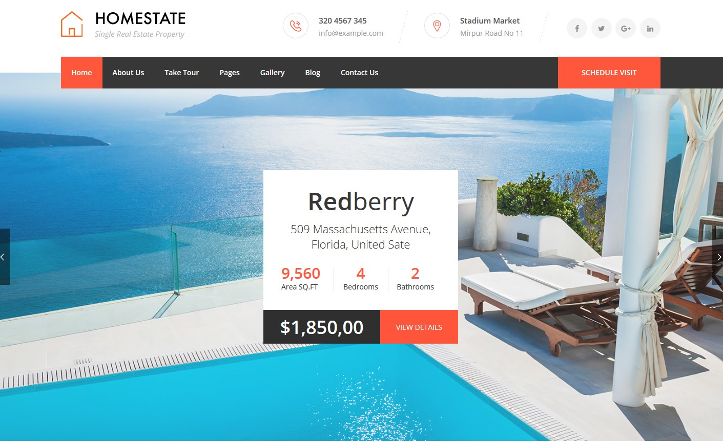 Home State Single Property WordPress Theme
