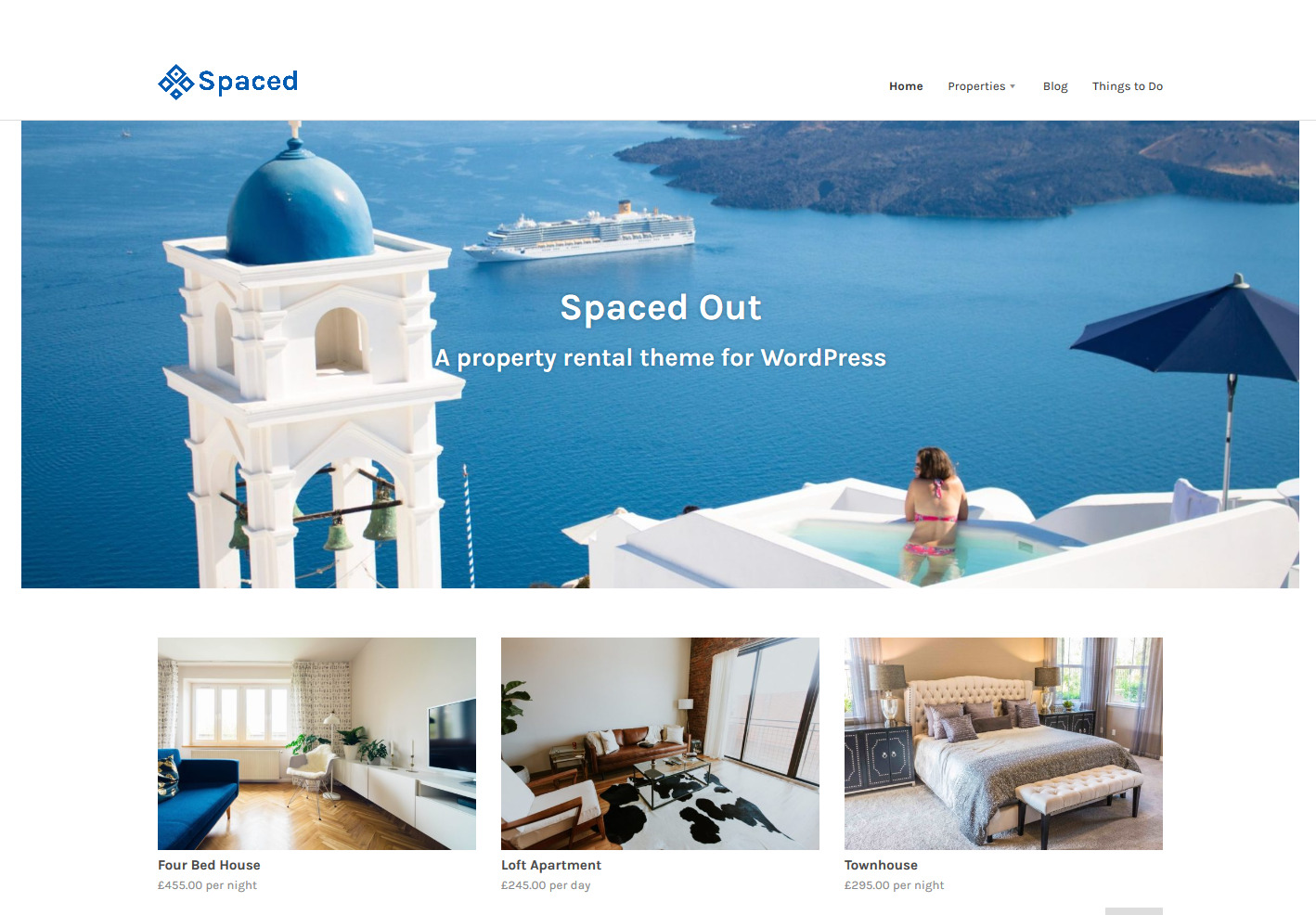 Spaced – Property rental theme WordPress