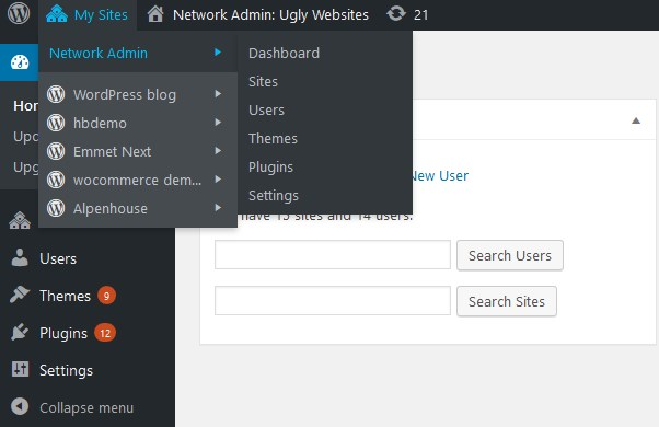add subsites and users wp multisite