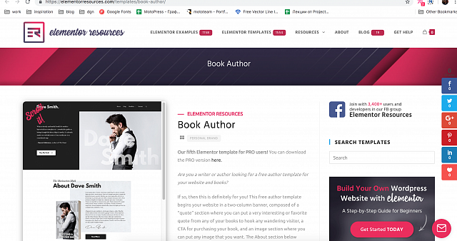 Author Book Elementor Template