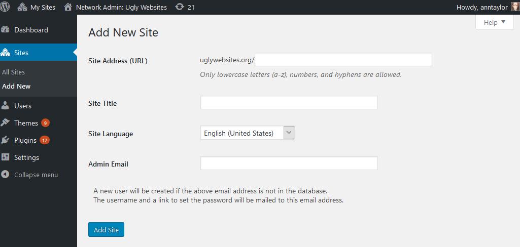 create multisite network subsite