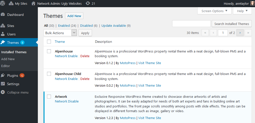 wordpress multisite network enable