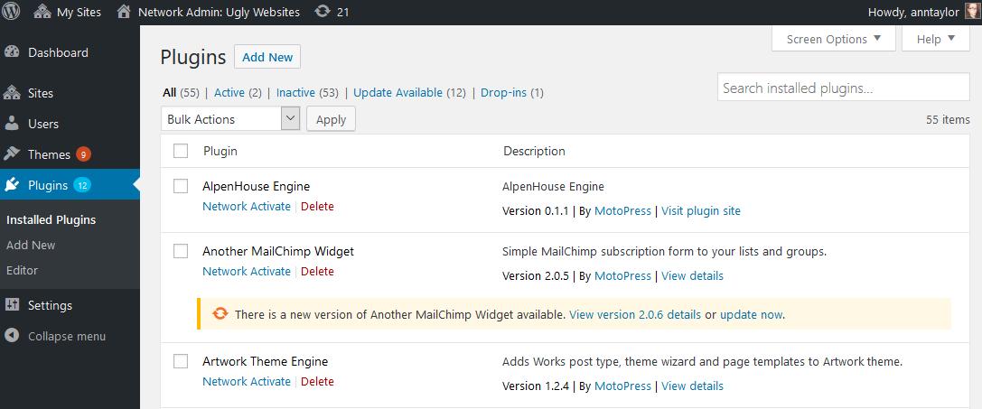 network multisite plugins