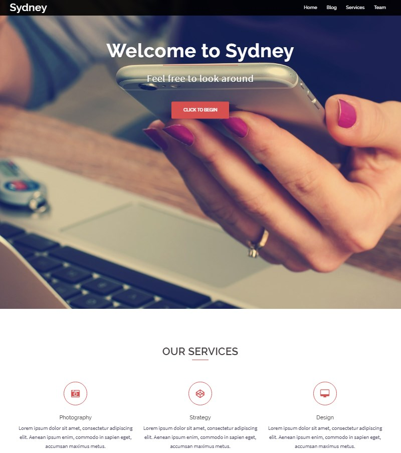 Sydney_free_one_page_WP_theme