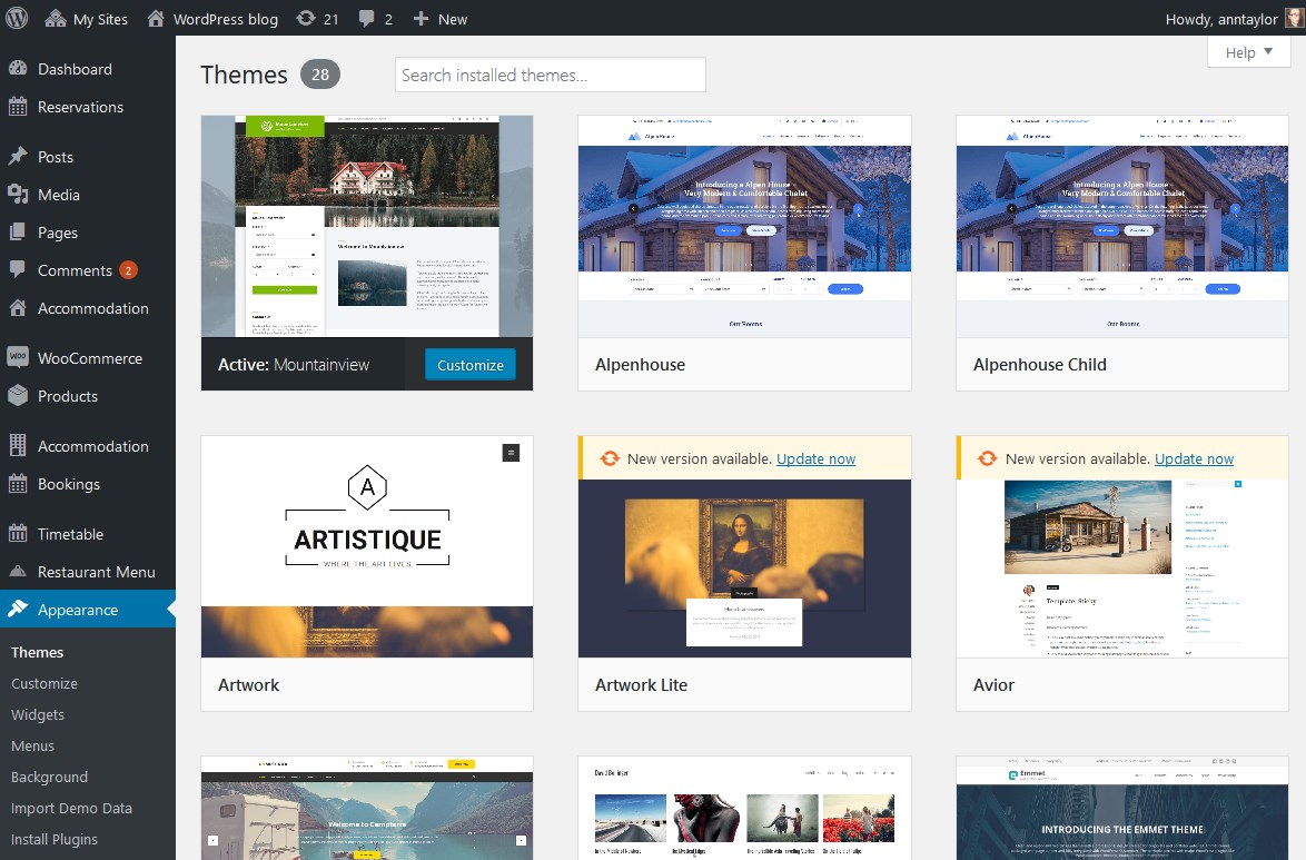 user themes wordpress multisite network