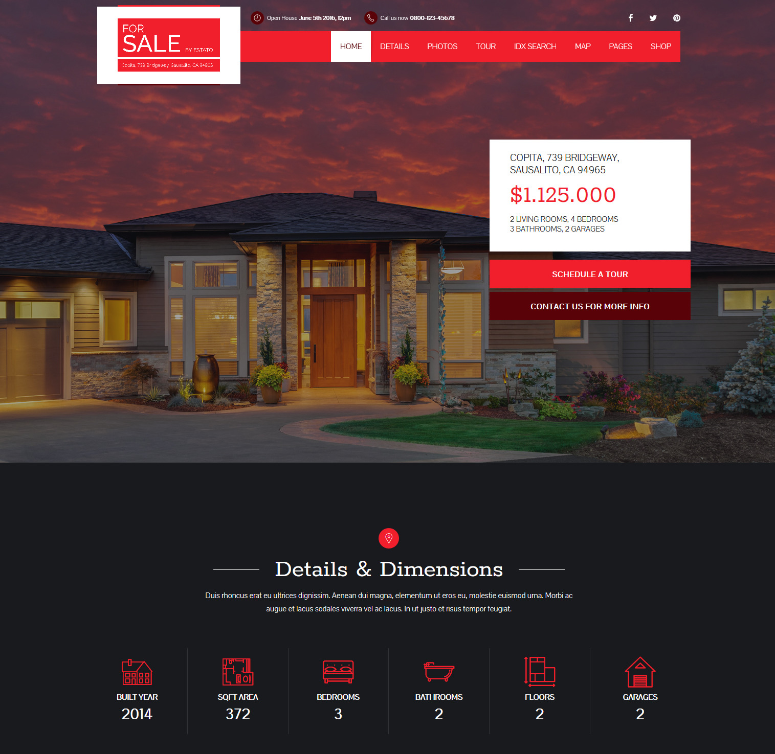 estato wordpress Property Sale