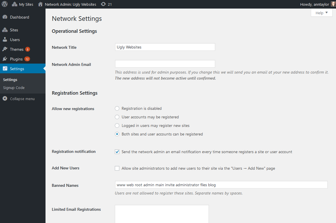wordpress multisite network settings