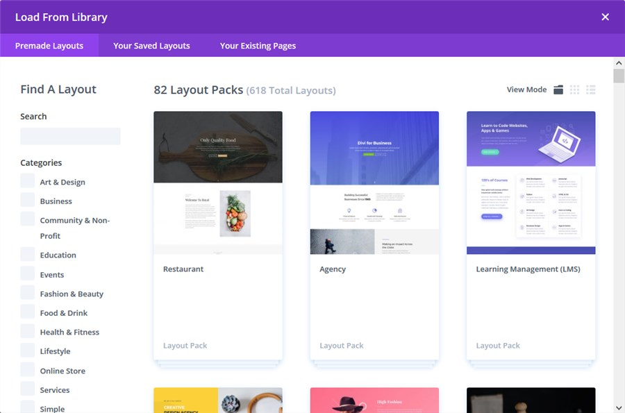 divi theme library