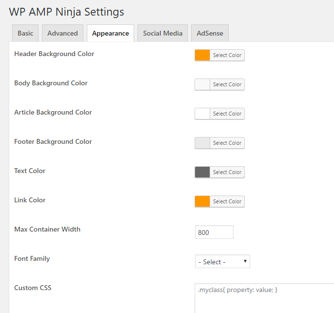 ninja amp wp appearance
