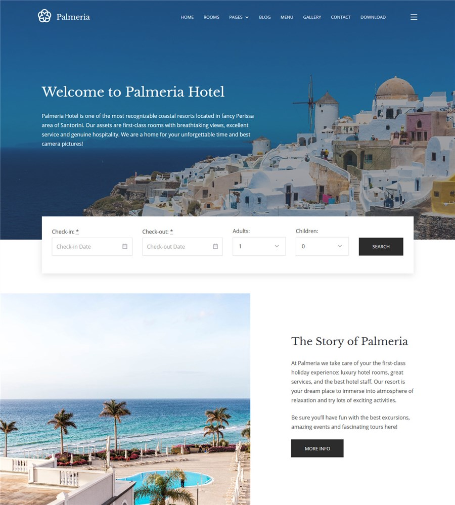 palmeria hotel booking wp theme